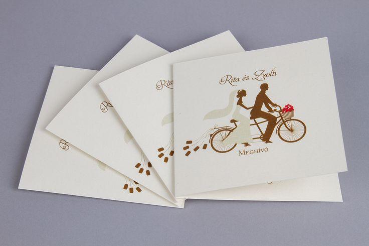 Grafikus esküvői meghívó, biciklis meghívó - cycle couple wedding invitation