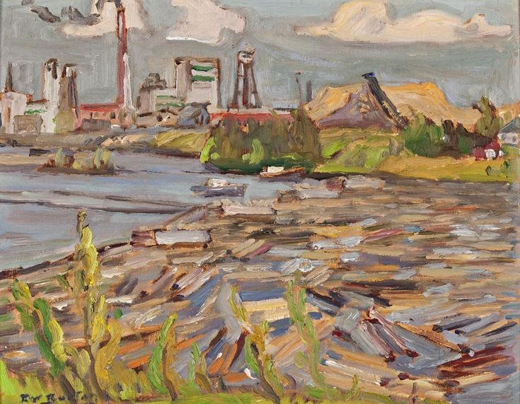 Ralph Wallace Burton - Abitibi Pulp & Paper Co 10.5 x 13.5 Oil on panel (1968)