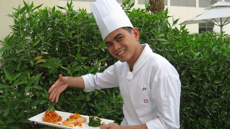 #Chef GR with his #grilled #salmon with #spaghetti #napolitana