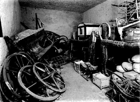 Ancient Egypt - When Howard Carter opened King Tut's tomb in 1922, he found 4 chariots in the antechamber (2 more were found in the treasury room). The chariots had been dismantled at the time of the King's funeral. Tutankhamun's tomb is the the only tomb dating from Egypt's New Kingdom (c1550–1069 BCE) to have been found substantially intact. The contents provide an unequalled insight into royal funerary practices, art & craftsmanship of the period.
