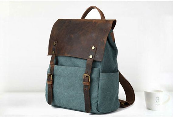 Canvas Backpack backpack Leather Canvas  Bag by DuDuLeather, $55.99