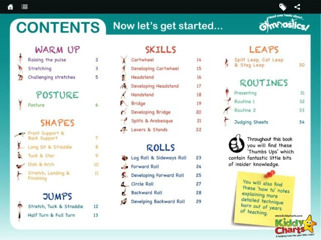 The App is an extension of the book, offering instructional videos alongside the diagrams which show kids how to perform a number of different gymnastics moves; from warm-ups and stretches, to balances, jumps and rolls.