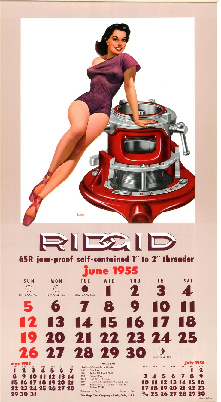 Ridgid Calendar June 1955 Ridgid Pinterest Calendar