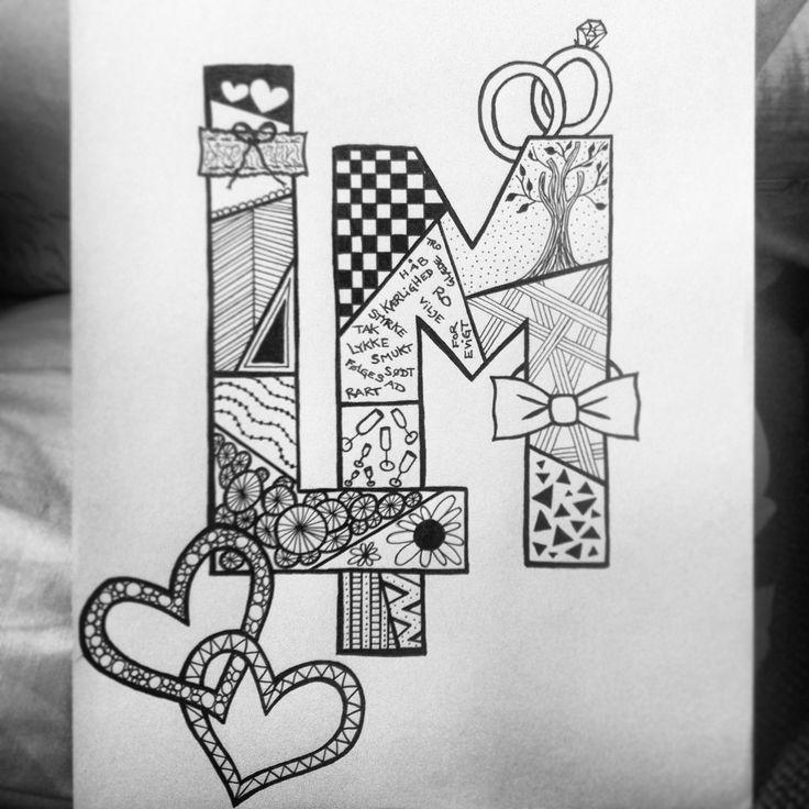 Zentangle monogram for a wedding.