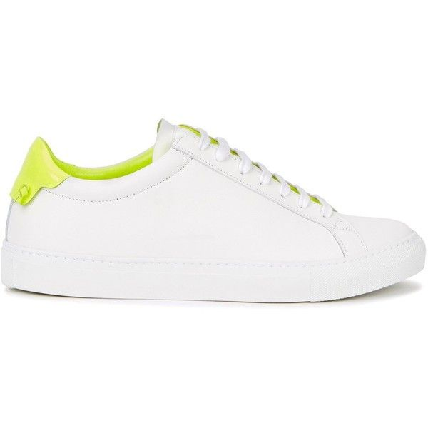 Givenchy White And Neon Yellow Leather Trainers - Size 7 (1.430 BRL) ❤ liked on Polyvore featuring shoes, sneakers, shoes - flat, sneak, white leather sneakers, white trainers, lace up flat shoes, white flat shoes and lace up sneakers