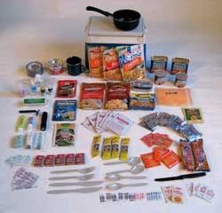 Assemble a 10-day emergency food supply by shopping only in a typical chain grocery store, for under 25.00. Cheap insurance if you travel through areas where you would not want to be stranded. Items are ready to eat or cooked by adding hot water. Sterno fuel and a metal cup or small pot for heating.