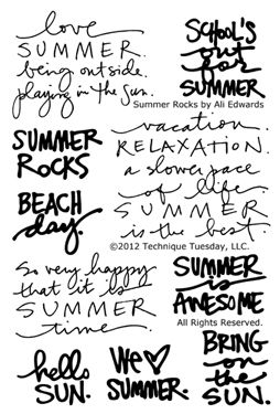 Great words for scrapping summer - from Ali Edwards Technique-Tuesday-SAE-Summer-Rocks-Clear-Stamps-Medium