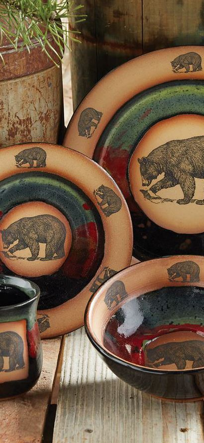 Forest Bear Pottery For A Log Cabin Kitchen.