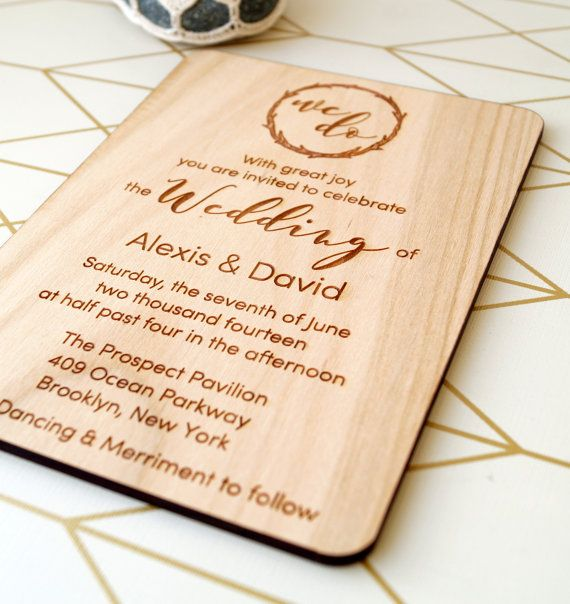 wooden wedding invitation rustic wedding by corkcountrycottage