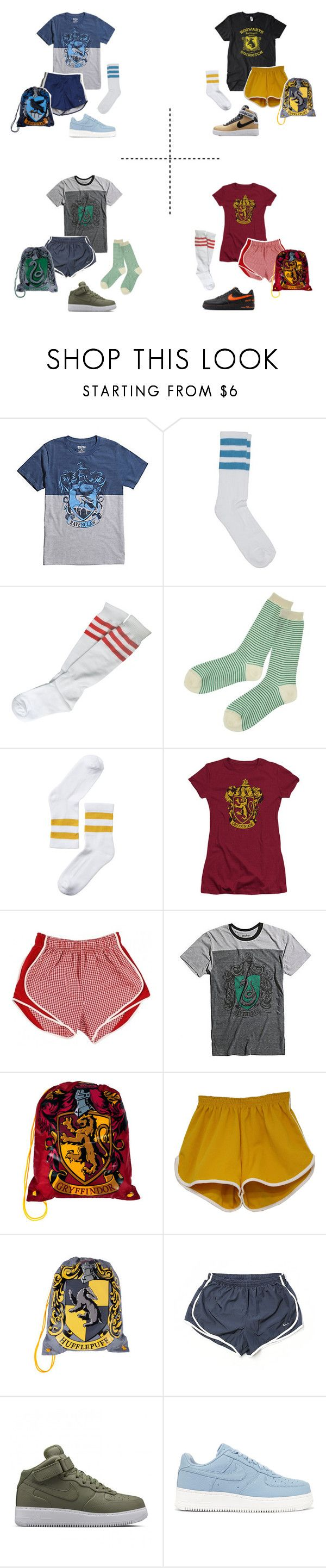 """""""hogwarts houses ; gym class"""" by ultimate-guide-to-harry-potter ❤ liked on Polyvore featuring Hot Topic, American Apparel, Le Bac by united bamboo, Monki, NIKE and Haze"""