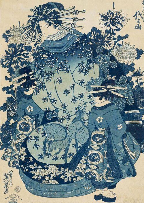 Yoyoyama of the Matsubaya. Ukiyo-e woodblock print, about 1830's, Japan, by artist Keisai Eisen.