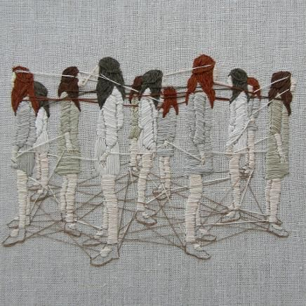 """My work explores psychological landscapes, illuminating thoughts left unspoken. I create tiny worlds in thread to capture elusive yet persistent inner voices. Literary snippets memories personal mythologies and art historical references inform the imagery; fused together these influences explore relationships domesticity and self-perception. Symbolism and allegory lay bare dynamics of aspiration and limitation, expectation and loss, belonging and alienation truth and illusion."" Michelle…"