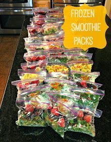 Frozen Smoothie Packs.  Love this pre-packaged smoothie idea. If you have the freezer space this a great way to save time & money later with a little effort up front. From all things katie marie: