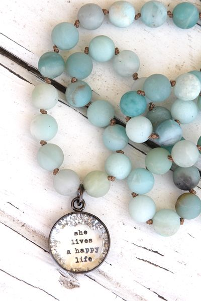 Happy Life Matte Sea Glass Knotted - $45.00 : Beth Quinn Designs , Romantic Inspirational Jewelry
