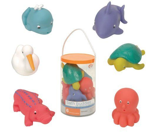 Battat Sea Bath Buddies by Battat. $10.93. Includes a reuseable storage case. For hours of imaginative bath time play. Set includes a whale, Crocodile, shark, octopus, pelican and turtle. Brightly colored. Great fun for family and friends. From the Manufacturer                Set of 6 floating, squirting, soft and squeezable bath toys. Set includes a whale, Crocodile, shark, octopus, pelican and turtle. Brightly colored. For hours of imaginative bath time play. Great fun for fam...
