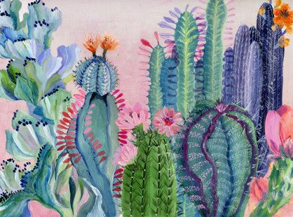 This painting was inspired by a trip to Mexico, it depicts a dense landscape with succulent plants and different kinds of cactus. The print is