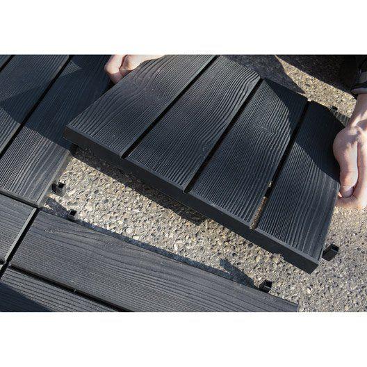 Dalle clipsable Easy en polypropylène noir noir n°0, L.38cm x l.38cm x Ep.25mm
