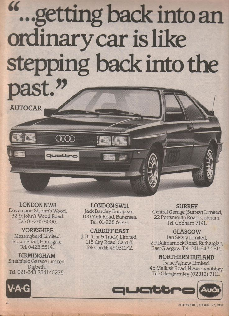 Audi Quattro Advert From August 81 Enough Said Audi Audi Quattro Audi Audi Coupe