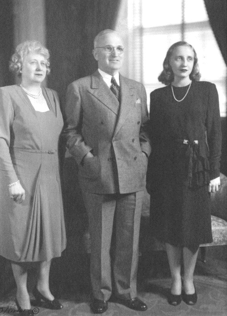 Full length family portrait of President Harry S. Truman, Bess Truman, and…