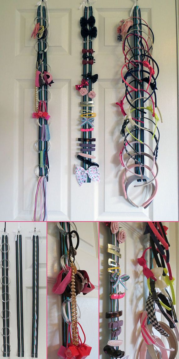 Hair Accessory Organizer System with Elastic by HelloMonogramTN  Clever use of shower rings for hair bands - good if we have to use wardrobe door