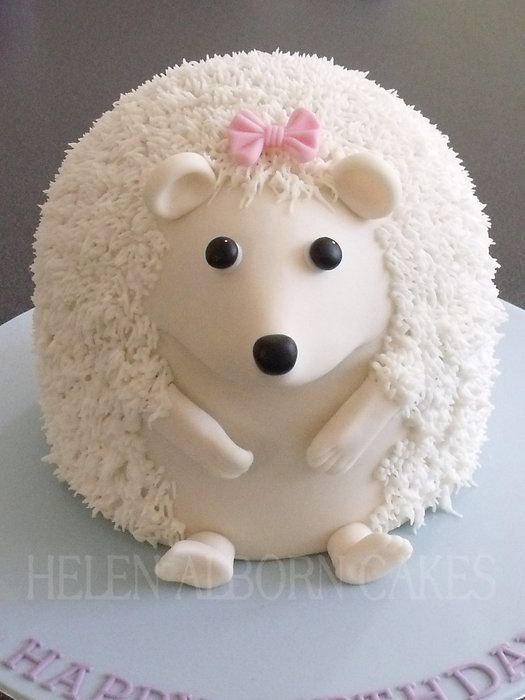 Hedgehog cake!  So cute!  #woodland #forrest #white  would be a good wedding cake.