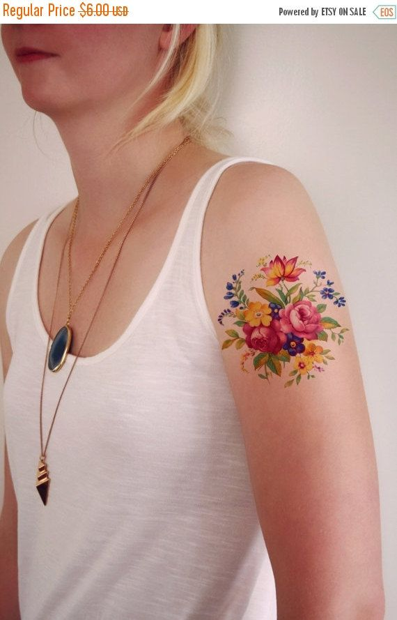 Memorial Day Sale Floral temporary tattoo / Colorful by Tattoorary