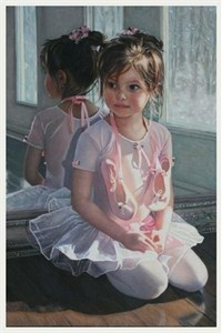 """Reminds me of my two little girls when they were this age.  Chantal Poulin Handsigned and Numbered Limited Edition Canvas:""""The Ballerina"""" - Chantal Poulin"""