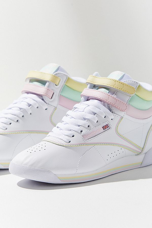 f5985be4fc62d8 Women s Shoes  New Sneakers + Sandals. Slide View  1  Reebok X GLOW Freestyle  Hi Pastel Sneaker