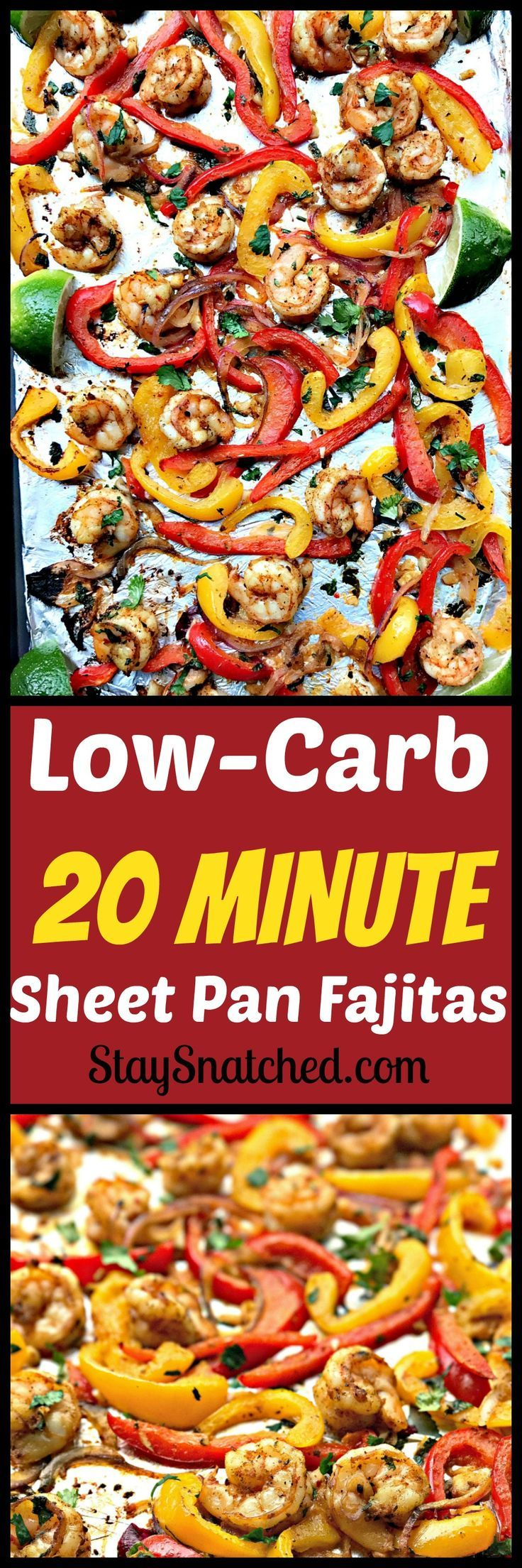 20-minute Low-Carb Dish: protein-packed broiled shrimp accompanied with broiled veggies #LowCarb #Paleo #Shrimp