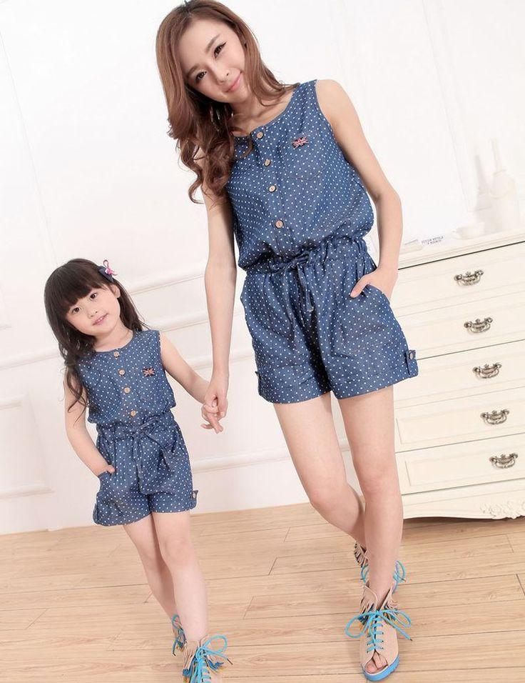 2016 Verão Mãe Filha de Jeans Macacão Roupas Mãe E Filha Combinando Família Roupas Combinando Vestido Mae E filha Dot(China (Mainland))