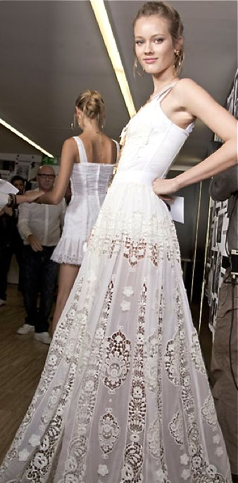 Dolce Gabbana White Lace Maxi Dress And White Lace On