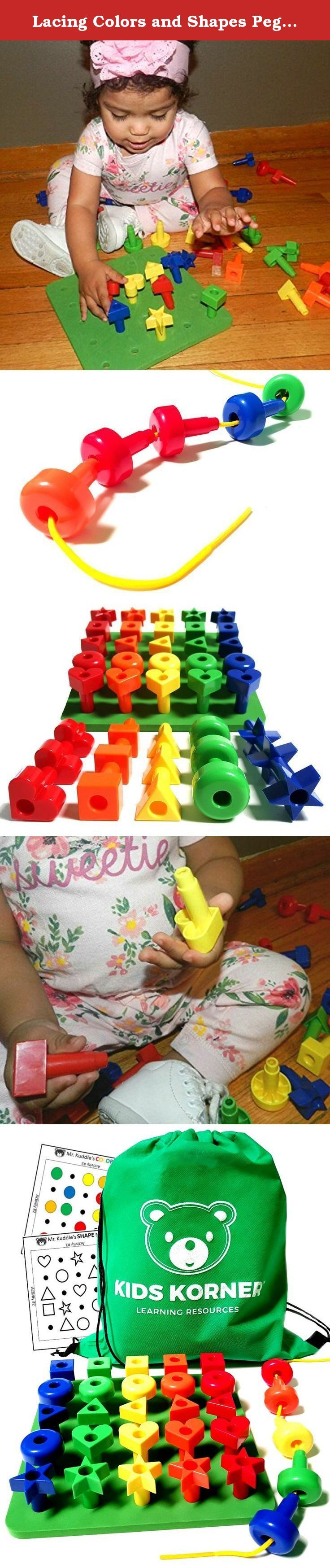 Lacing Colors and Shapes Pegboard Building Puzzle Set with Pattern Card, Bonus Travel Backpack & 36pg Activity eBook Montessori Fine Motor Color Recognition Sorting Counting Matching Stacking Toy Kids. Kids Korner LACING COLORS & SHAPES SORTER PEGBOARD SET with Rainbow Jumbo Lacing Beads. A wonderful shapes puzzle for toddlers to learn the basics! MR. KUDDLES, your learning guide. Let Mr. Kuddles take you step by step into the world of colors for kids, shapes games for toddlers, lacing...