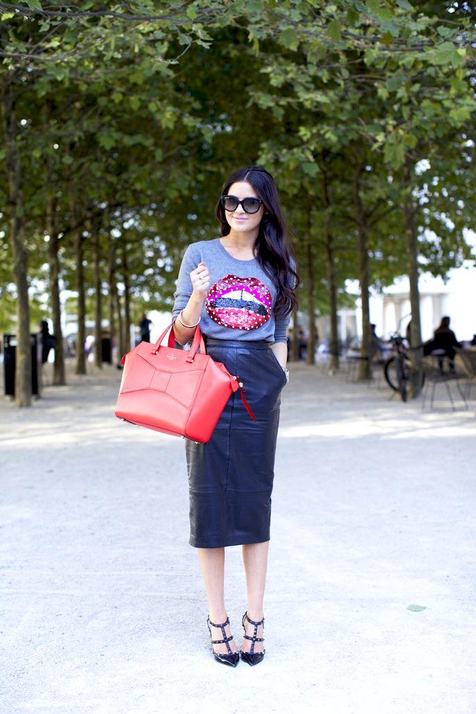 midi leather skirt and cute slouchy long sleeve shirt