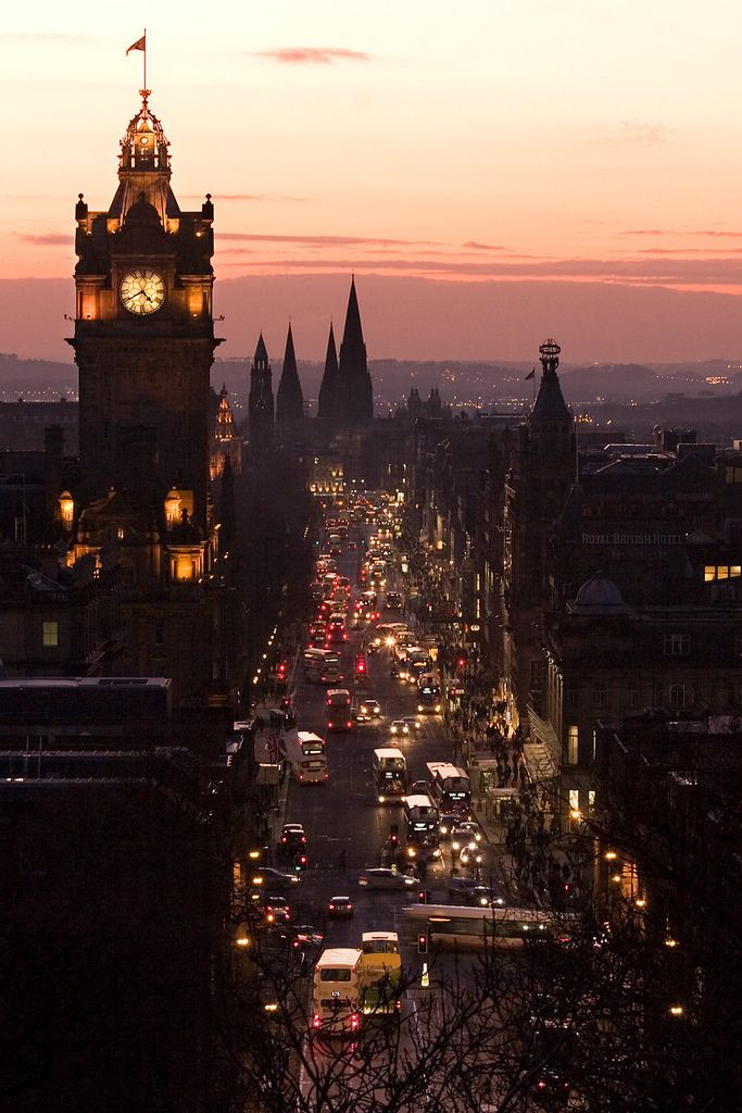 Princes Street, Edinburgh, seen from Carlton Hill just after sunset.