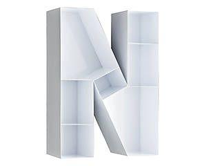 Настенные книжные полки 'N' - металл - белый - 46x63x18 см