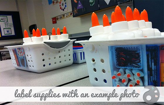 Take photos of how you want the baskets organized so students can quickly organize them.