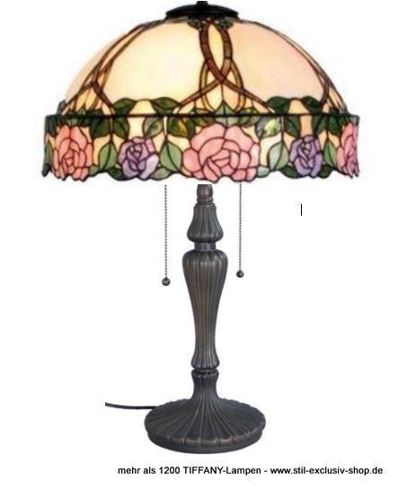 EXTRA-Modell!  50cm ø. TIFFANY-Tisch-Lampe, unsere Serie DAPHNE.  50cm ø. ca. 61cm hoch. 2 x E-27, je 60W.        Meisterklasse = sorgfältig im Glasofen gerundete ausgesuchteTIFFANY-Gläser wurden hier aufwändig für unser Modell DAPHNE zusammengefügt. Die eingearbeiteten Zweige enden im versetzt hergestellten breiten Blütenrand, eine handwerklich sehr schwierige TIFFANY-Herstellung der absoluten Meister-Klasse!