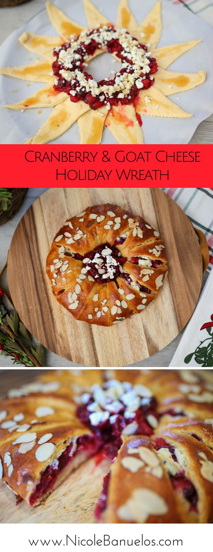 Cranberry & Goat Cheese Holiday Wreath ||  Perfect side dish for a holiday pot luck!  #joanofarcgoat #ad @joanofarc @joanofarcbrie