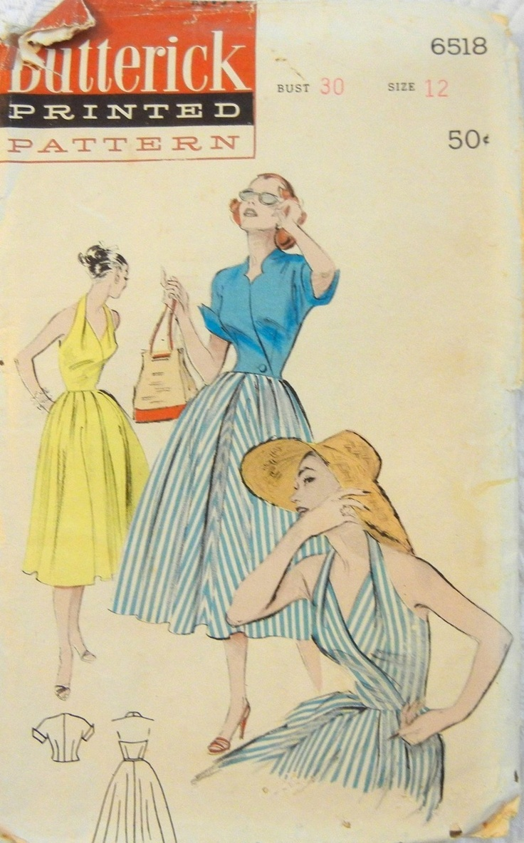 Butterick 6518; I love the construction of this halter.: 1950S Dresses, Butterick Patterns, Vintage Sewing, Vintage Patterns, Butterick 6518, Halter Sundresses, Dresses Patterns, Halter Maxi Dresses, Sewing Patterns