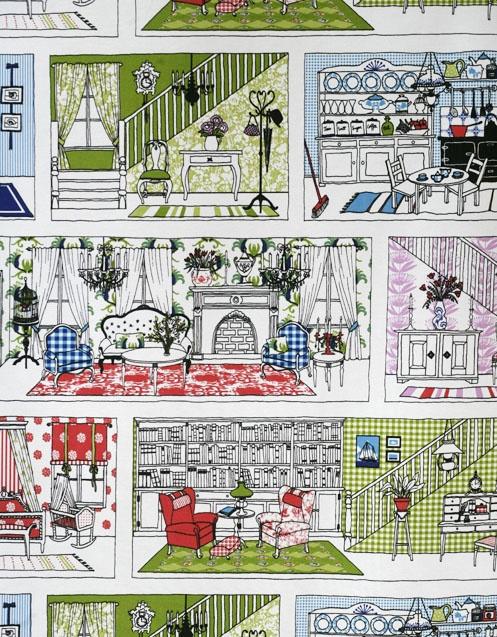 Detail of Nukkekoti fabric by Tanja Orsjoki 2006/2012/Vallila