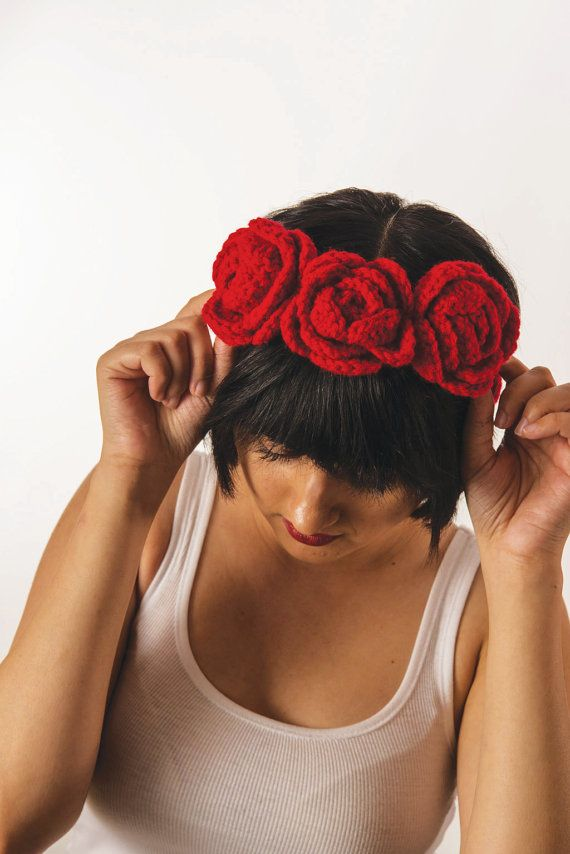 Red Red Rose Headband Frida Khalo by knitbypearl on Etsy, $16.00