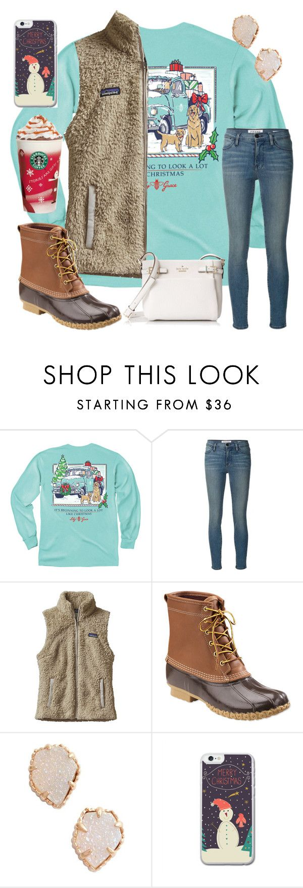 """its beginning to looks alot like christmas"" by ctrygrl1999 ❤ liked on Polyvore featuring Frame, Patagonia, L.L.Bean, Kendra Scott and Kate Spade"