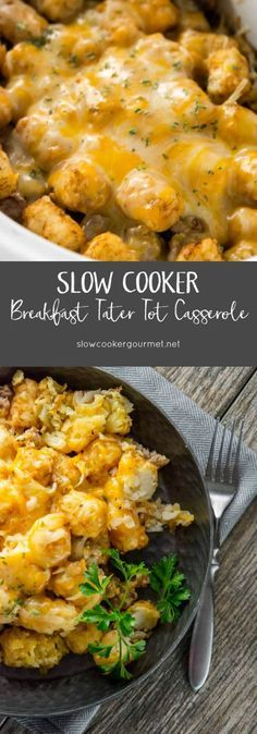 Perfect for company, busy mornings or even weekends, this tater tot casserole has eggs and sausage and is simple to make in the slow cooker.  Great for making up ahead of time too!