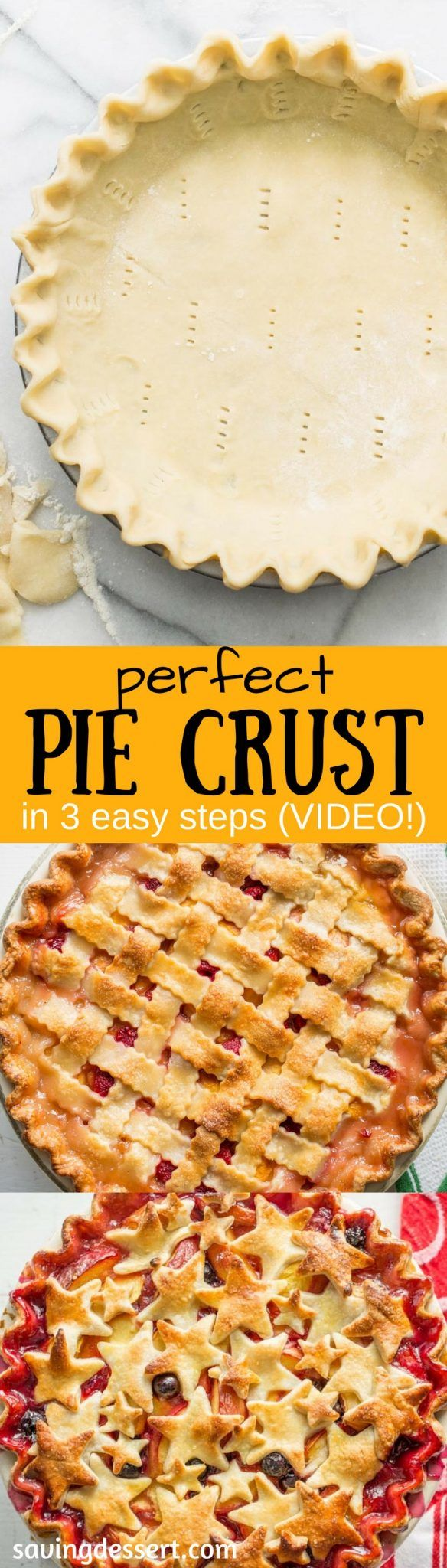 Perfect Pie Crust Recipe in 3-easy steps - With just a little patience and practice, you can make flaky, delicious pastry for all your favorite pie recipes. #pie #piecrust #piepastry #dessertpies #savingroomfordessert #savorypies