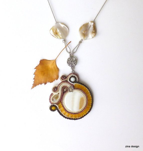 Mother of Pearl Long Brown Soutache Necklace by ZinaDesignJewelry
