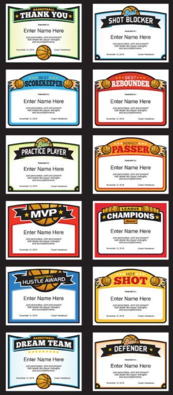 Elite Basketball Award Certificate Templates — A great collection of stylish designs. Pick your favorite and fill in text fields with player's name, team name, words of praise, coach's name, etc. Then, print and present. Great for basketball banquet at year end or distribution throughout the season. Give a lasting keepsake that will put smiles on kids' faces (and a few grown-ups).