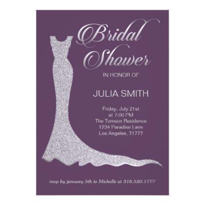 Glittery wedding dress card - wedding invitations diy cyo special idea personalize card