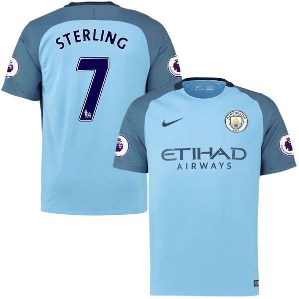 Raheem Sterling Manchester City Nike 2016/17 Home Replica Patch Jersey - Blue - $114.99