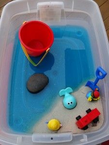 Literacy Sensory Bin to Compliment The Snail and the Whale from Growing Book by Book