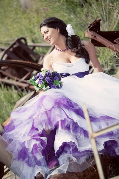 Sassy purple layers underneath the gown, to match the sash. Trendy and gorgeous.